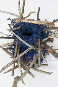 ghost net basket by Aly de Groot Weaving Projects, Weaving Art, Contemporary Baskets, Textiles, Assemblage Art, Textile Art, Textile Design, Wood Sculpture, Basket Weaving
