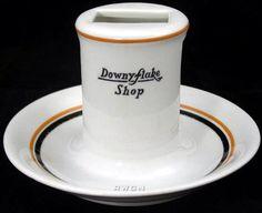 Downyflake Shop ashtray (Iroquois China, 1930's)