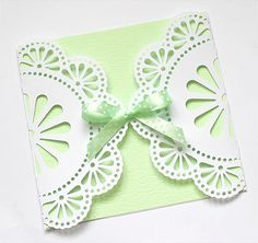 handmade card ... Doily Gatefold  .... lovely card with delicat doily closure ... free cut file available ...