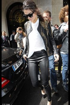c8acc1be2ec Studded jacket Kendall And Kylie Jenner, Jenners, Studded Jacket, Studded  Leather, Chic