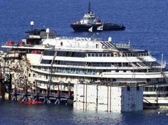 GIGLIO,  ITALY.. Technicians on Monday began a complex operation to refloat and tow away the wreck of the Costa Concordia, two and a half years after the luxury liner capsized off the Italian coast, killing 32 people.