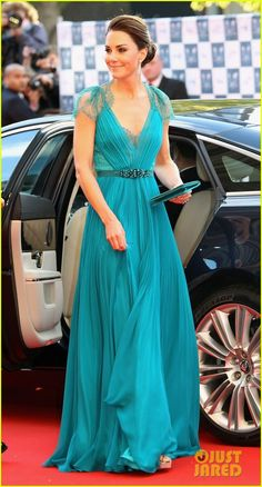 Catherine, Duchess of Cambridge (Kate Middelton). It takes courage to rock such a bold color like this.