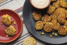RITZ crackers add a buttery outer crust to these mini zucchini corn cakes with spicy aioli.
