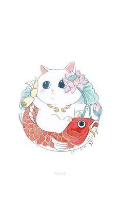 Neko Cat, Maneki Neko, Art And Illustration, Illustrations, Cat Wallpaper, Kawaii Art, Cat Art, Cute Cats, Anime Art