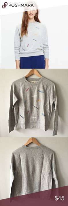 Madewell Embroidered Throwback Sweatshirt Soft and cozy, this lightweight sweatshirt combines an old-school shape with an embroidered tribute to some of our favorite cities: Paris, Barcelona, London, New York, Tokyo and Berlin.   Classic Fit  Cotton Hand wash Item #E4498 New with tags attached - in excellent, new condition. Bundle & save 💰! Sorry - 🚫 trades! Madewell Tops Sweatshirts & Hoodies