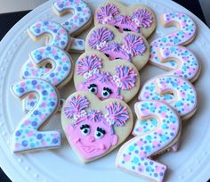 Decorated Custom Abby Cadabby and Number Cookies, Perfect for your Sesame Street Birthday Party Cookie lady. 2nd Birthday Party For Girl, Elmo Birthday, Birthday Cookies, Birthday Party Themes, Birthday Ideas, Sesame Street Party, Sesame Street Birthday, Elmo Party, Oui Oui