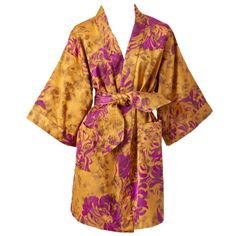 Valentino printed taffeta kimono-style coat in shades of butterscotch and purple | Italy, 1980's