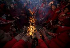 Devotees holding water pots wait to fill water, which is considered by them to be holy, from the Triveni River during the Swasthani Bratakatha festival in Panauti near Kathmandu, Nepal, February 2 Tibet, Nepal, February 12, Gods And Goddesses, Miraculous, Holi, Asian, Water, Pictures
