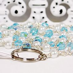 Id Lanyard with wire wrapped Aqua blue Crystals and white Pearls 327 | artbysunfire - Accessories on ArtFire