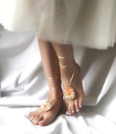 Apricot Barefoot Sandles Salmon Beach Sandals by ElvishThings, $15.00