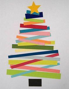 sapin de Noël  bandes de papier  maternelle