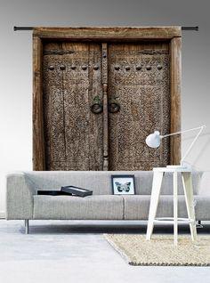 Wandkleed Old Doors geeft een stoere landelijke look. #wandkleed #wanddecoratie #interieur