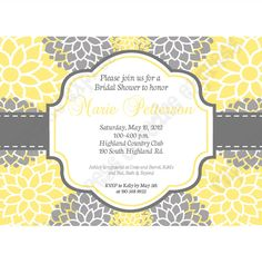 Bridal Shower Sunshine Chic PRINTABLE Shower Invitation 5x7 yellow grey