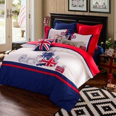 American USA Flag 100% Cotton Duvet Cover + Bed Linen 4 PC Set Several Style Options Queen or King