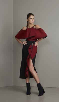 BLUSA BANDAGEM BABADOS ALÇA - BL40075-A4 | Skazi, Moda feminina, roupa casual, vestidos, saias, mulher moderna