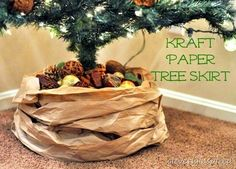 Craft Paper Tree Skirt Filled with Pinecones and Ornaments