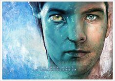 I finished a new Avatar painting. I am a big fan of Sam. Sam Worthington as Jake Sully Stephen Lang, Michelle Rodriguez, Zoe Saldana, Sully, Alpha Centauri, Avatar James Cameron, Avatar Fan Art, Aurora, Sam Worthington