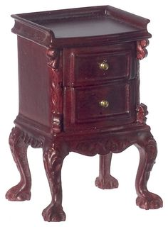 Chateau Lorraine Night Stand in Mahogany by Town Square Miniatures