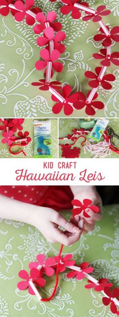 DIY Hawaiian Lei Kid Craft. I'm thinking Halloween costumes!