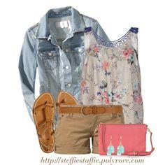 Denim Jacket, Floral tank  Khaki shorts, created by steffiestaffie on Polyvore