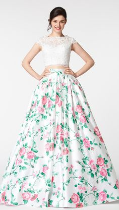 Ball gown two piece floral prom dresses cap sleeves long prom dresses