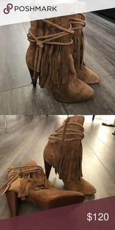 "Ash fringe boot heel tall boot with fringe. brand new never been worn. tan camel color. 3.75"" heel Ash Shoes Heeled Boots"