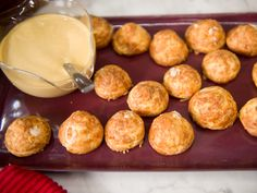 Gougeres with Gruyere Mornay and Beer Mustard Recipe : Geoffrey Zakarian : Food Network Holiday Appetizers, Appetizer Dips, Appetizer Recipes, Holiday Recipes, Yummy Appetizers, Beer Mustard Recipe, Tapas, Food Network Recipes, Cooking Recipes