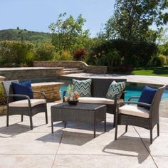 Denise Austin Home Kilburn Outdoor 4-Piece Wicker Chat Set - Walmart.com