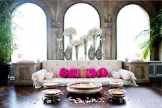 love the pink pillows and silver vases! Bohemian Interior, Interior Styling, Interior Decorating, Interior Design, Indian Interiors, White Couches, Pink Pillows, Moroccan Decor, Moroccan Style