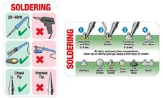 Soldering electronics is a delicate art. If youre just getting started learning how to solder this handy reference chart can help you spot some common mistakes and make sure your work comes out right. Soldering Tools, Soldering Jewelry, Soldering Techniques, Wire Jewellery, Soldering Iron, Diy Electronics, Electronics Projects, Fusion 360, Diy Solar
