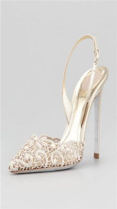 Rene Caovilla Embroidered Lace Point-Toe Halter Pump
