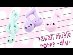 Kawaii Musical Notes 3 in 1 polymer clay charm tutorial