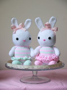 Large Amigurumi Crochet Bunny. Lovely new baby, birthday or christening gift. Made in Pink, white and green yarn.. £15.00, via Etsy.