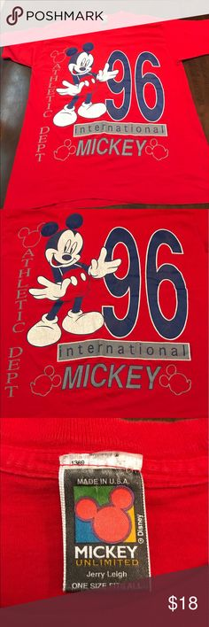 1996 Disney Mickey Unlimited. Vintage Disney The tag on picture #3 says one size fits all. The graphics are cracking Look at all the pics. Disney Shirts Tees - Short Sleeve