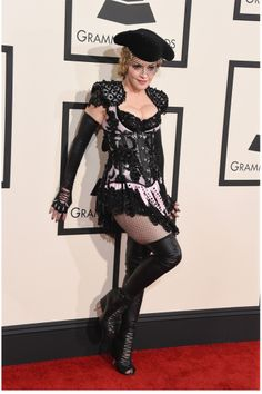 Grammy Awards 2015: Madonna in custom Givenchy lace up boots.
