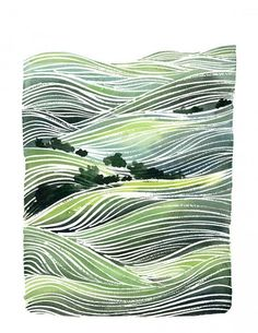 Yao Cheng Handmade Watercolor Painting- Landscape Green Hills- Wall Art Watercolor Print via Etsy Watercolor Landscape, Landscape Art, Landscape Paintings, Watercolor Paintings, Watercolours, Green Watercolor, Watercolor Texture, Silk Painting, Painting & Drawing