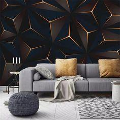 3d Wallpaper Living Room, Living Room Tv, 3d Wallpaper Designs For Walls, Living Room Murals, Living Room Background, Geometric Wallpaper, Geometric Lines, Wall Murals, Ceiling Design