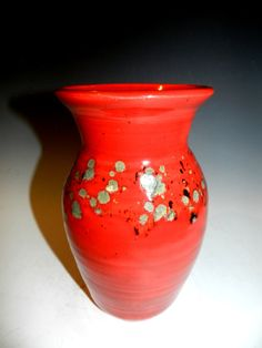 Reserved red crystal vase for Jeff Plumley by MarkCampbellCeramics