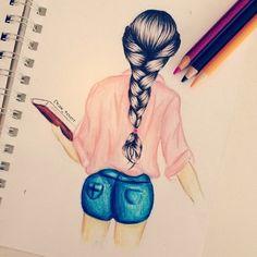 meisje getekend van de achterkant