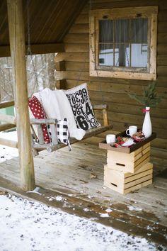 Cozy Cabin Winter Engagement Shoot