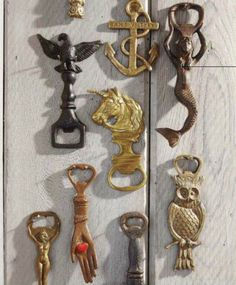 Collection of bottle openers make a for an interesting display [Source: Country Living US, May 2012]