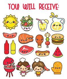OFF Kawaii clip art BBQ clipart labor day clipart kid Cute Food Drawings, Cute Cartoon Drawings, Cute Kawaii Drawings, Easy Drawings, Cute Food Art, Cute Art, Griffonnages Kawaii, Art Mignon, Kawaii Doodles