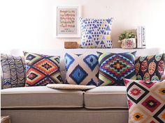 """18 """" praça geométrica de linho algodão capa de almofada Ikea casa decorativo jogar travesseiro travesseiro carro sofá Retro CaseHD61 alishoppbrasil"""