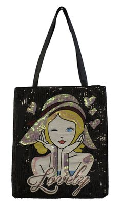 Sequined black bag with a lady face with a hat and the word Lovely on the front - Sapphire