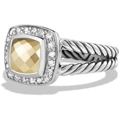 David Yurman Petite Albion Ring with 18K Gold Dome and Diamonds ($675) ❤ liked on Polyvore featuring jewelry, rings, gold, gold diamond rings, yellow gold rings, yellow gold diamond ring, dome ring and 18 karat gold ring