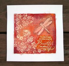 Suzz's Stamping Spot, Dreamweaver Stencils, Stampendous, Canvas, Dragonflies, Cherry Blossoms,