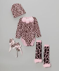 Another great find on #zulily! Pink Giraffe Bodysuit Set - Infant by Baby Gem #zulilyfinds