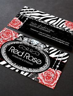 Fully customizable zebra print business cards created by Colourful Designs Inc.