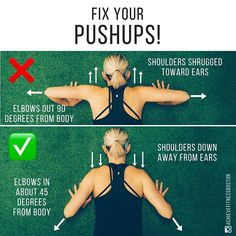 ARE YOU MAKING THESE COMMON PUSHUP MISTAKES?? - As you can see in the top photo, model is shrugging her shoulders and allowing her elbows to point out at a 90 degree angle from her body. This not only over-engages the upper trap muscles, which tend to be overdeveloped already, but it also puts the shoulders in a vulnerable position. If you ever experience shoulder discomfort during pushups, this positioning error may be the cause!