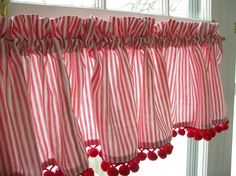 Curtain Valance Red White Ticking